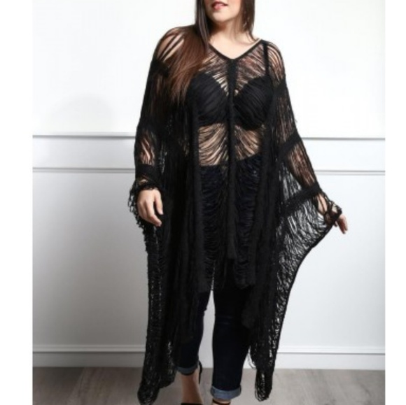 Tops Black Plus Size Knit Poncho Top Or Swim Cover Up Poshmark